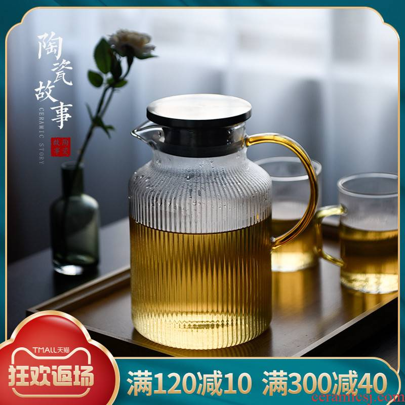 High temperature resistant glass ceramic story large - capacity cold northern cold water kettle cup household pot of suit