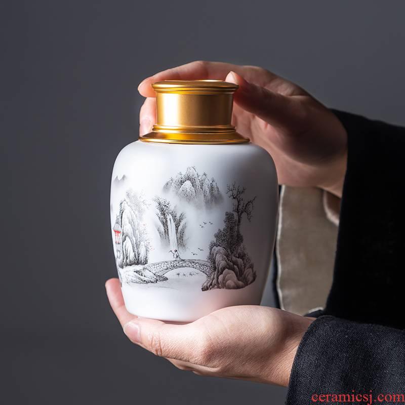 Pu 'er tea canister jingdezhen ceramic metal portable household celadon tea tea warehouse seal pot large pot