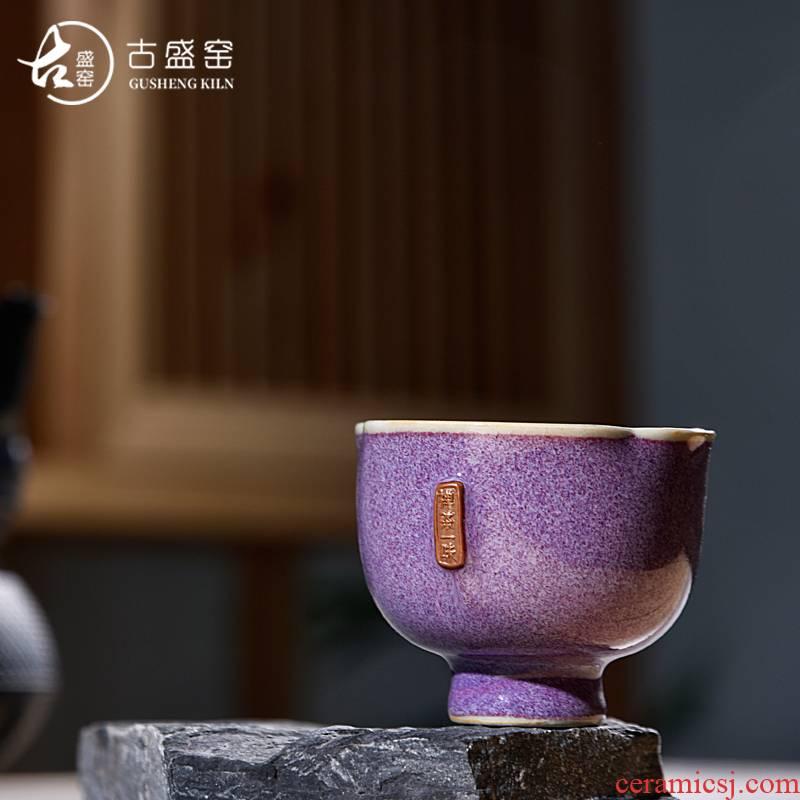 Ancient sheng manual pu - erh tea tea China up up new petals cup jin shenhou master cup sample tea cup masterpieces