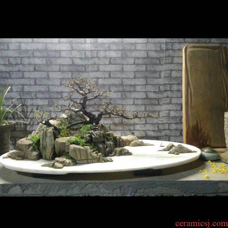 Rockery basin of rectangular tray of white marble marble basin flowerpot oval Rockery miniascape bibulous stone base