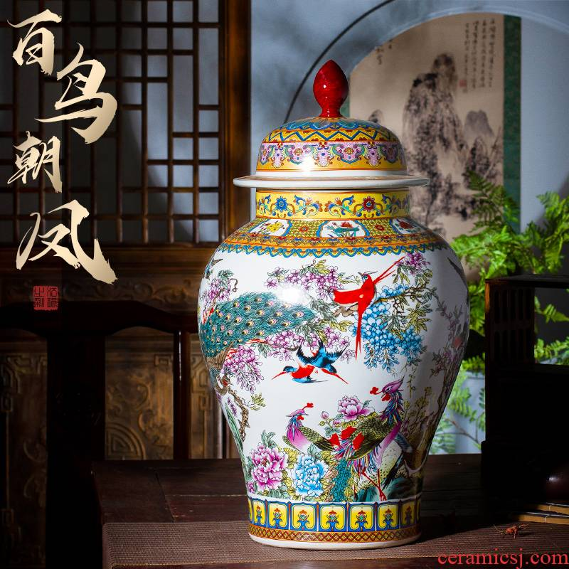 Jingdezhen ceramics high - capacity storage tank general archaize colored enamel pot vase sitting room porch decorate furnishing articles