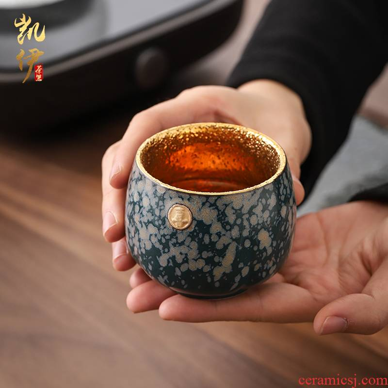 Pure manual Pure 24 k gold cup household ceramic cup tea set large sample tea cup individual cup of yellow marigold