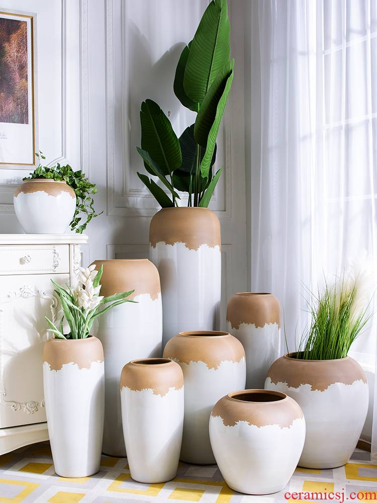 Nordic vase jingdezhen white clay creative household ceramics dried flowers contracted flower arrangement sitting room adornment is placed