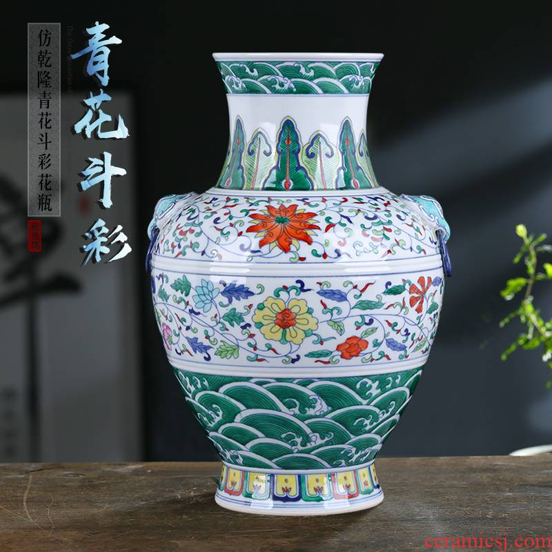 Jingdezhen blue and white color bucket Chinese style household ceramics vase furnishing articles TV ark, porch flower arrangement sitting room adornment