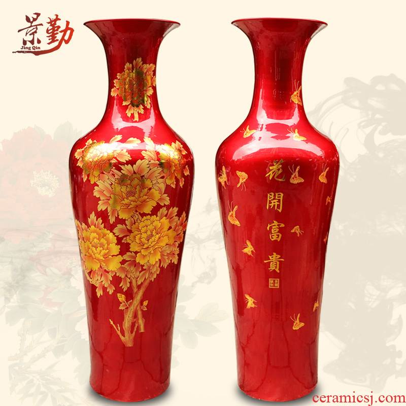 423 China jingdezhen ceramics red sands vase peony the French classical modern hotel furnishing articles in the living room