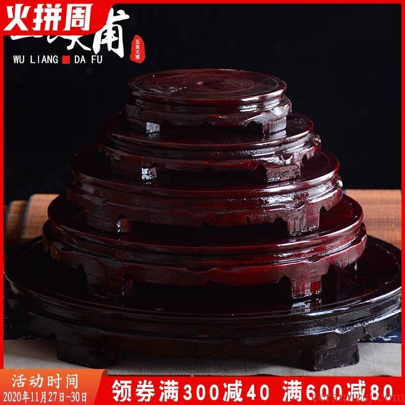 Ceramic crafts base wooden vase base stone base jars bottle circular base