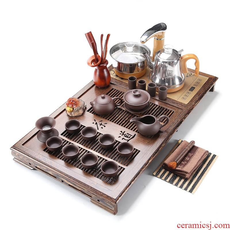 RenXin chicken wings wood tea tray was purple sand tea sets wood snap a whole set of fully automatic pumping electric heating furnace