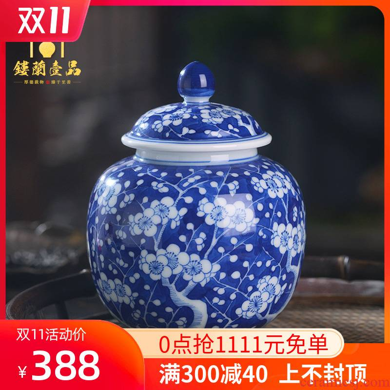 All hand - made ceramics jingdezhen blue and white ice may caddy fixings storage tanks kung fu tea set cover pot seal tea warehouse