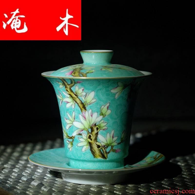 Submerged wood grilled jingdezhen ceramic tea set manually hand - made pastel flowers demand paint tureen high archaize kunfu tea