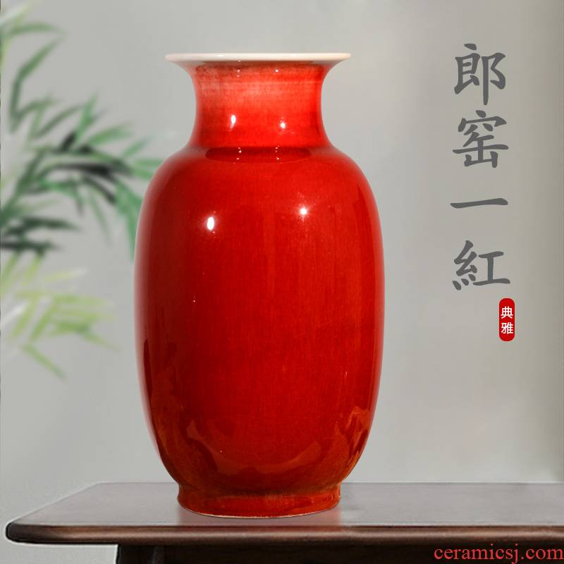 Jingdezhen porcelain vase in ruby red glazed pottery flower arranging a large living room TV cabinet decoration of Chinese style household porcelain of furnishing articles