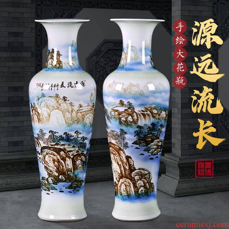 Jingdezhen ceramic floor big vase hand - made hotel opening gifts large sitting room adornment of Chinese style household furnishing articles