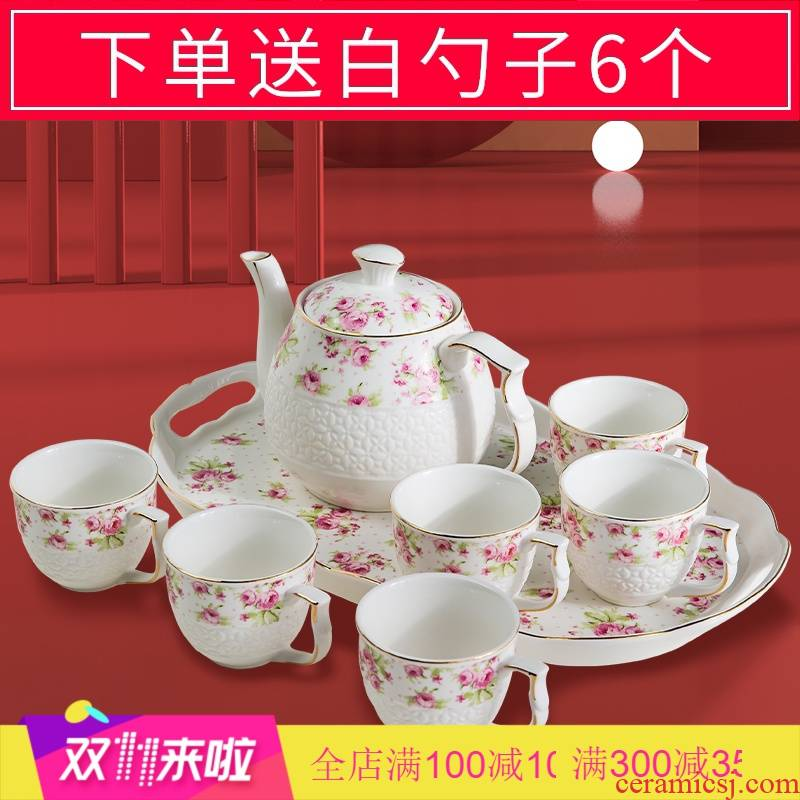 The Poly real scene of jingdezhen tea service suit visitor home sitting room wedding anniversary of a complete set of European glass ceramic teapot