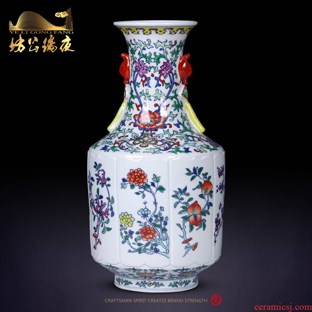 Antique blue and white color bucket a fold branch fruit porcelain of jingdezhen ceramics jade bottles of the sitting room of Chinese style household decorative crafts
