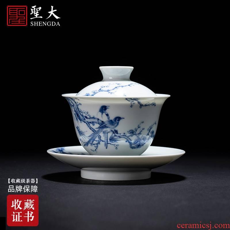 The large ceramic three tureen tea bowl hand - made beaming rock tea tureen jingdezhen blue and white tea by hand