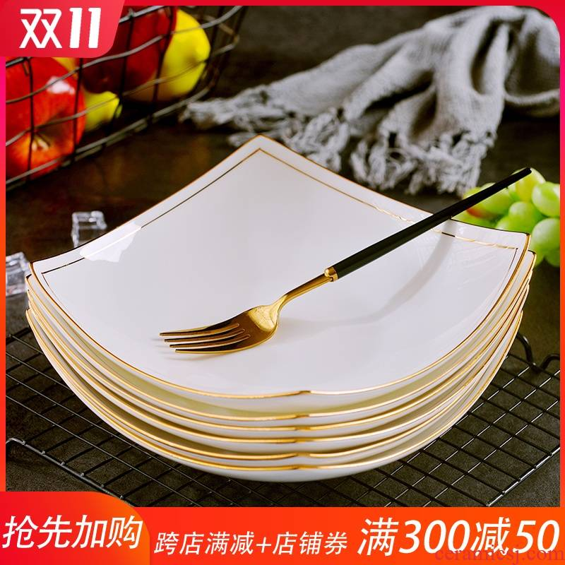 Jingdezhen up phnom penh ipads porcelain dish dish suits for home European 8 inches deep creative ceramics become warped feet soup plate plate