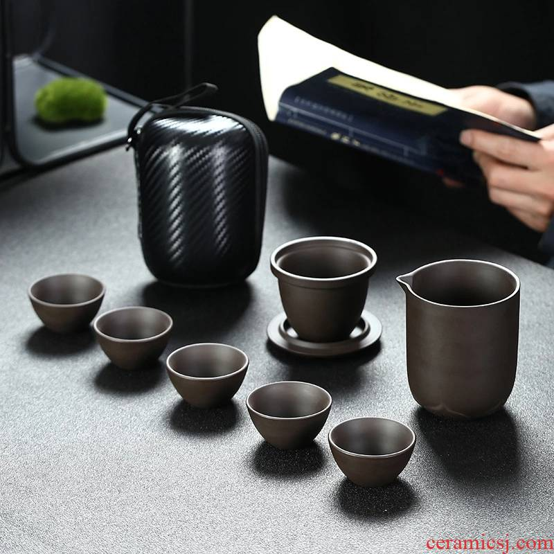 Travel, the who said in ceramic kung fu tea set suit portable package a pot of four cups of is suing with simple teapot