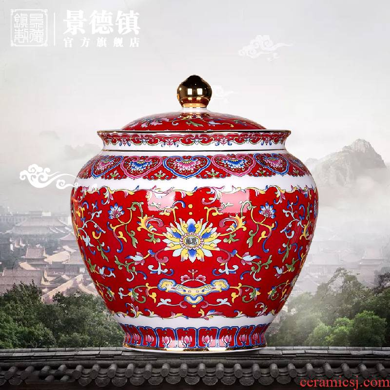 Jingdezhen flagship store full of beautiful color brocade flower pot bound lotus flower POTS caddy fixings household boutique high - end of the big pot
