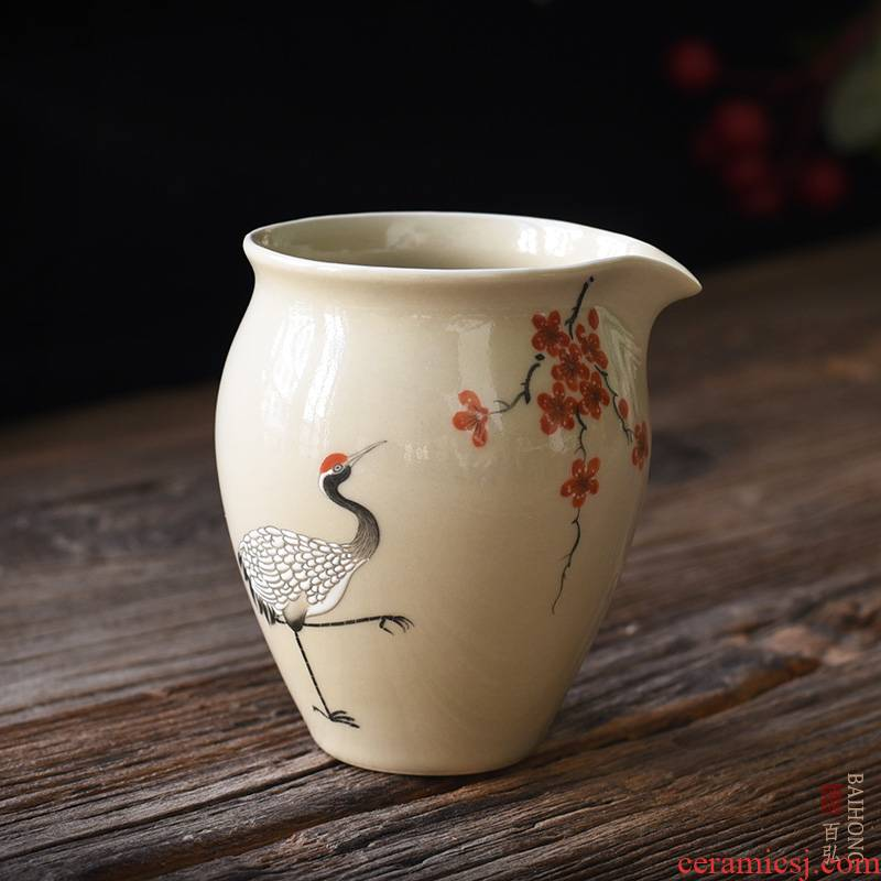 Hundred hong hand - made plant ash ceramic fair keller tea tea set, tea camellia Chinese jingdezhen points the crane
