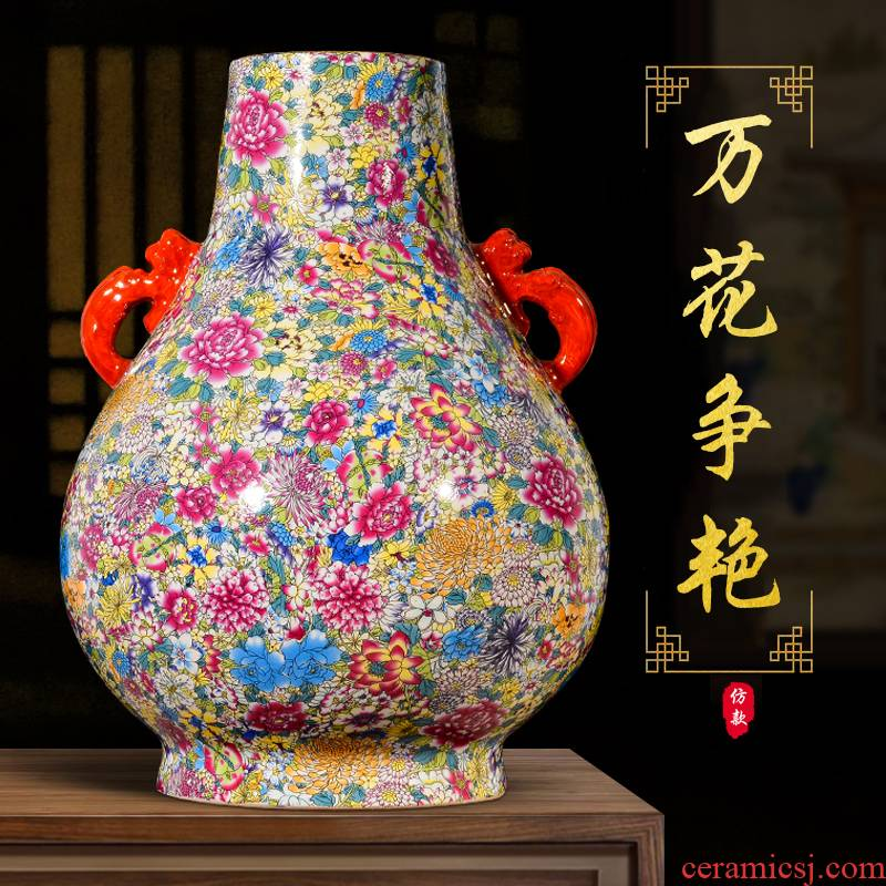 Jingdezhen ceramics archaize ears flower of large vases, Chinese style living room porch home furnishing articles