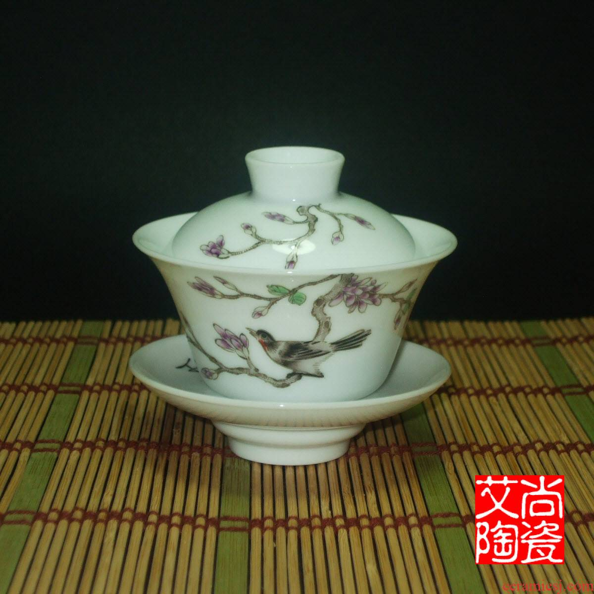 Submerged wood with pastel tureen painting of flowers and cover cup tea bowl archaize three teacups hand - made jingdezhen ceramics