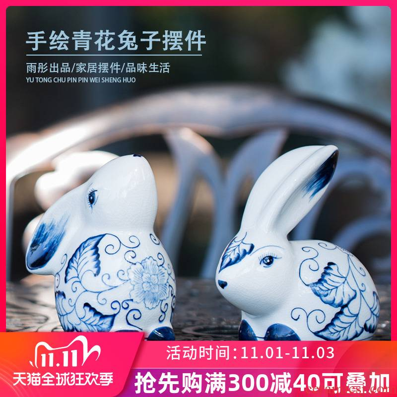 Ceramic arts and crafts and contracted fashion modern creative soft adornment furnishing articles Ceramic rabbit rabbit wedding gift decoration