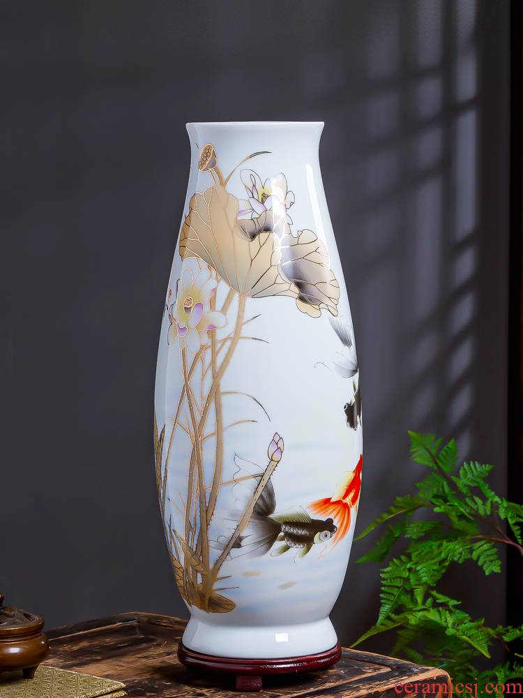 Jingdezhen ceramic hand - made big lucky bamboo vase high flower arranging the sitting room of Chinese style large porcelain dried flower adornment furnishing articles