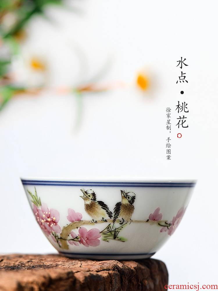 The Master of jingdezhen Xu Jiaxing hand - made peach blossom put water point chicken cylinder cup Master cup single cup white ceramic sample tea cup tea set
