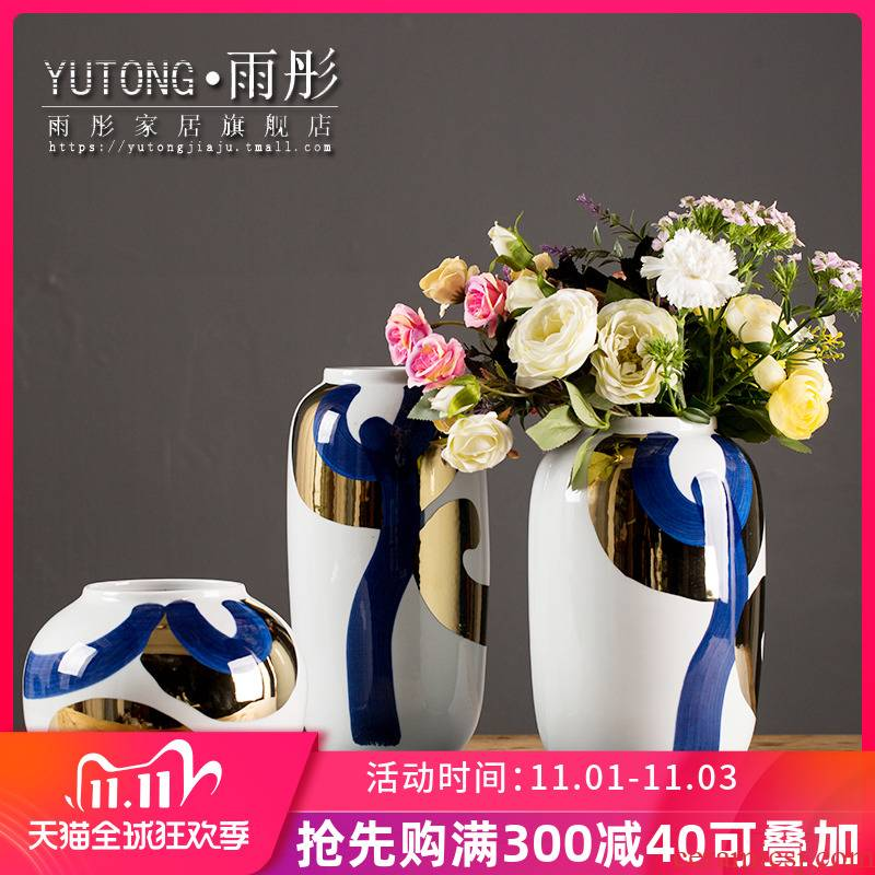 European ceramic vase light key-2 luxury furnishing articles sitting room porch TV ark, dried flowers, flower arrangement Nordic table home decoration