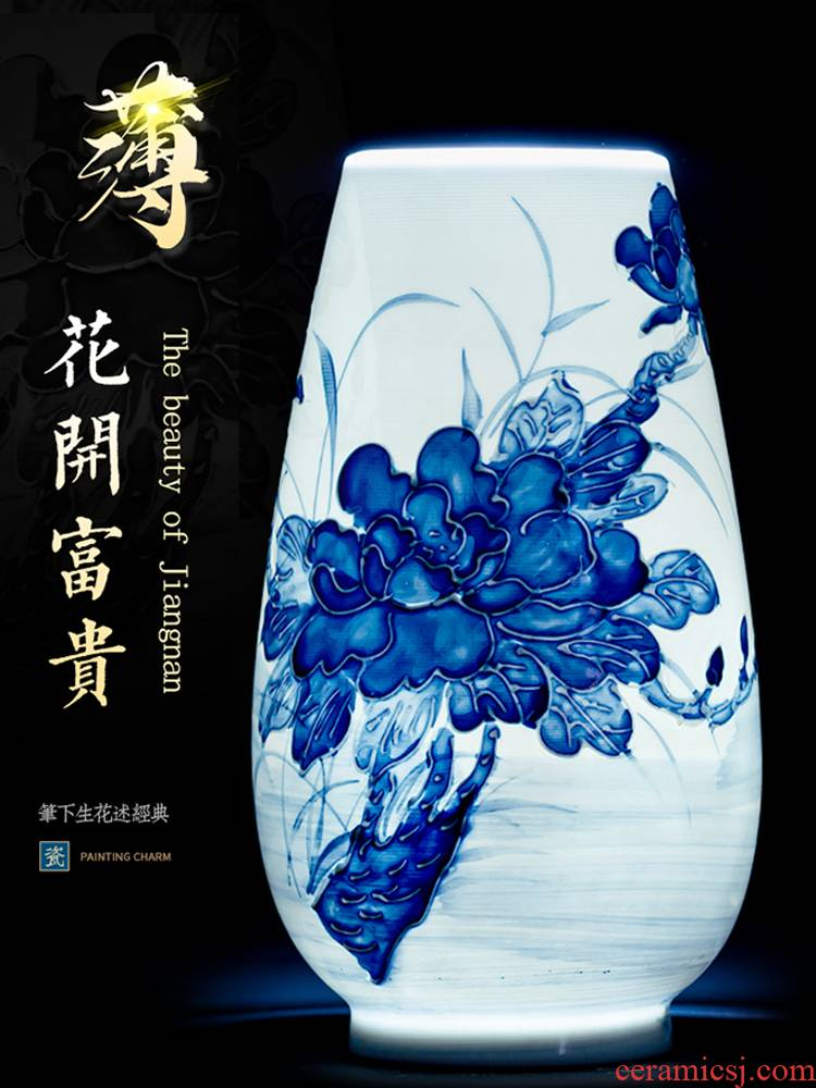 Jingdezhen ceramic blue and white porcelain vases, flower arrangement Chinese wind rich ancient frame trinket sitting room of Chinese style household furnishing articles