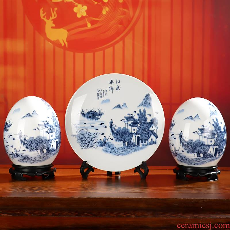 Blessed dense eggs three - piece wine sitting room adornment furnishing articles of jingdezhen ceramics office rich ancient frame decoration process