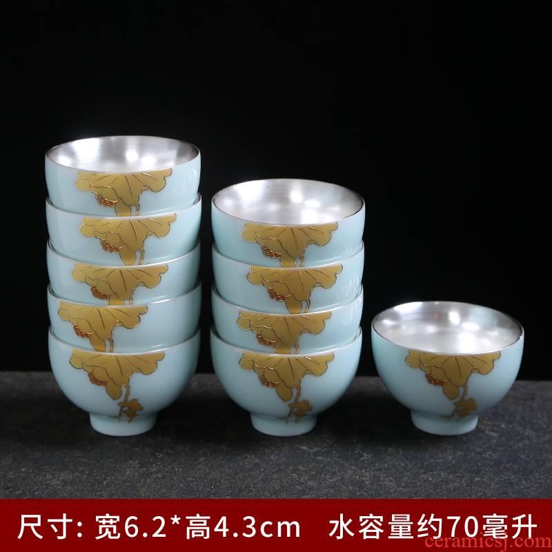 Tasted silver gilding jingdezhen ceramic celadon of noggin single cup sample tea cup kung fu master cup personal tea cups