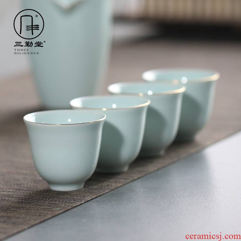 The three frequently shadow green sweet white sample tea cup of jingdezhen ceramic see colour master cup single CPU S41004 kung fu tea cups
