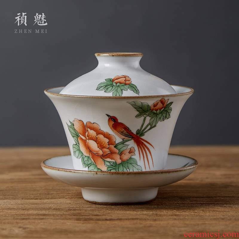 Shot incarnate your up hand - made only three tureen jingdezhen ceramic cups kung fu tea set home tea bowl piece can keep open