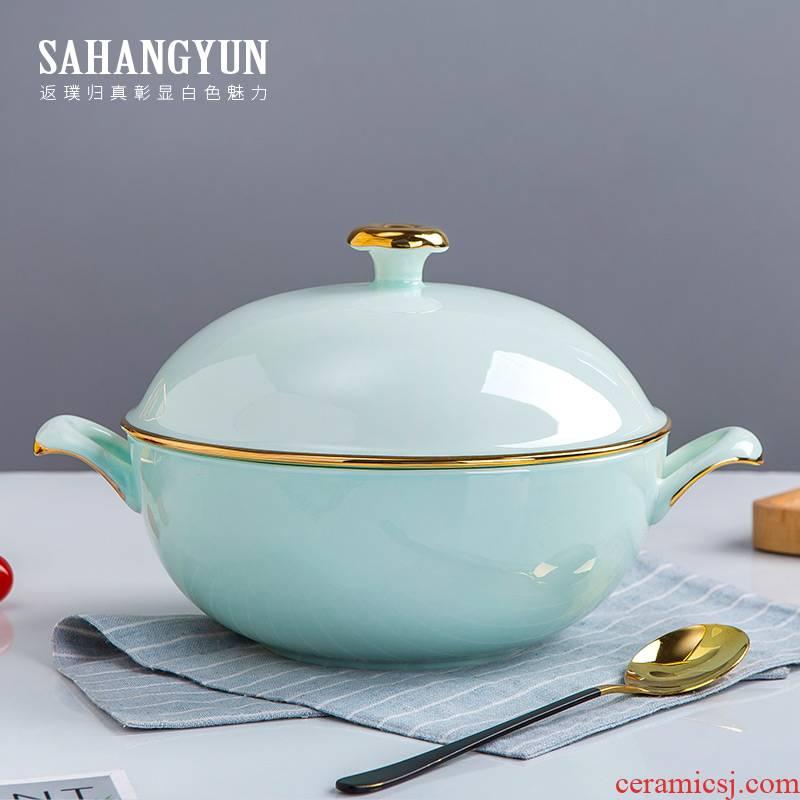 Ipads porcelain ceramic pot big white household ears lead - free soup pot soup bowl with cover in clay pot soup bowl tableware up phnom penh celadon pot