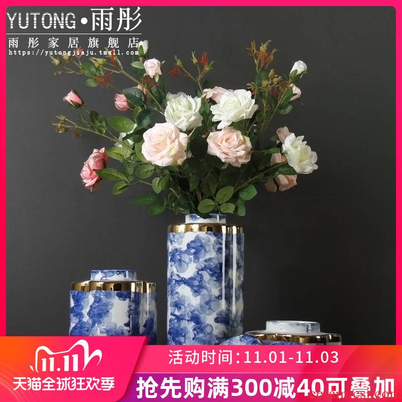 Gold - plated blue mercifully ceramic vase example room villa, ceramic vases, furniture accessories furnishing articles sitting room