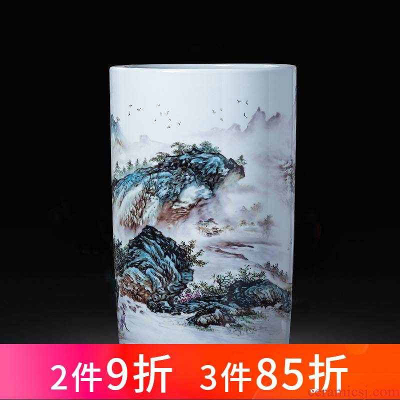 Jingdezhen porcelain ceramic painting and calligraphy cylinder scroll calligraphy and painting to receive quiver study landing big vase decoration furnishing articles