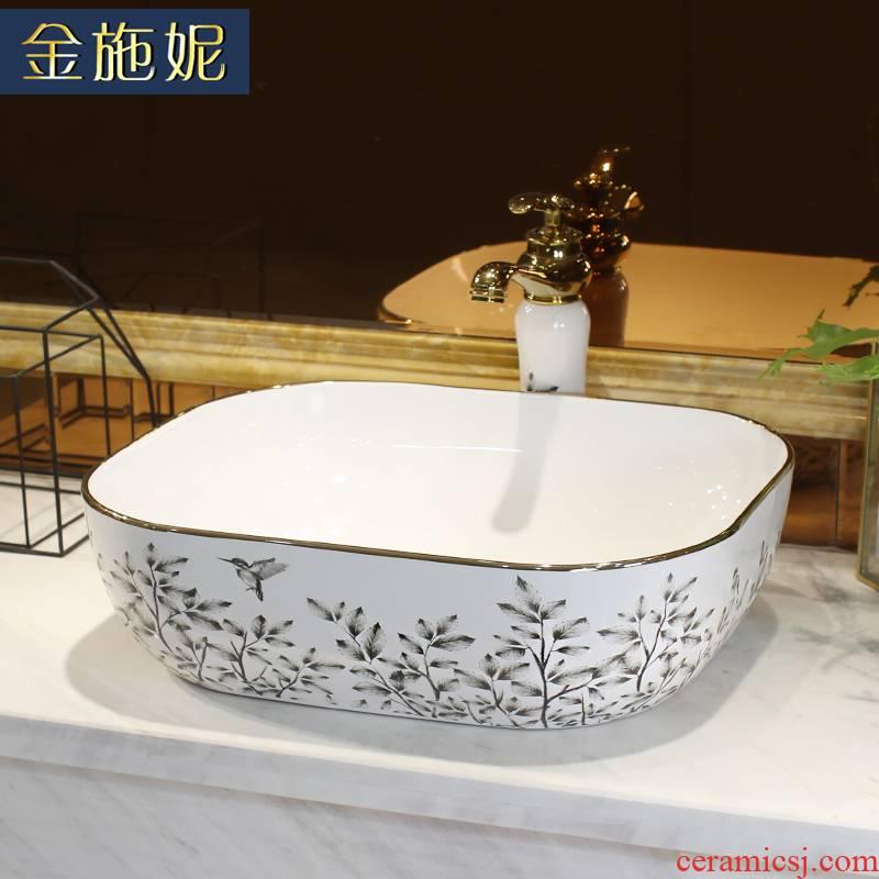 Jingdezhen ceramic stage basin sink single basin of continental basin basin home for wash lavatory basin to art