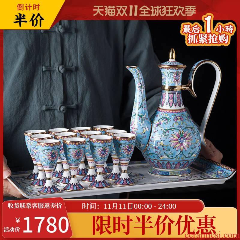 , wine package high - grade liquor cup household enamel small Chinese a small handleless wine cup of jingdezhen ceramic wine
