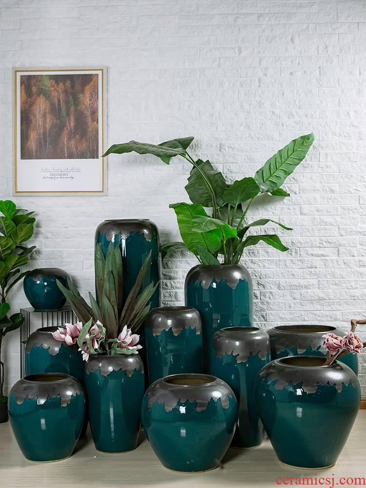 Retro nostalgia jingdezhen pottery ceramic large vases, flower arrangement home furnishing articles hotel villa living room dry flower decoration