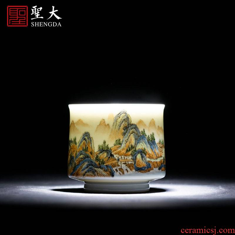 Holy big ceramic kung fu masters cup manual hand - made pastel cups water castle peak cylinder cup of jingdezhen tea service by hand