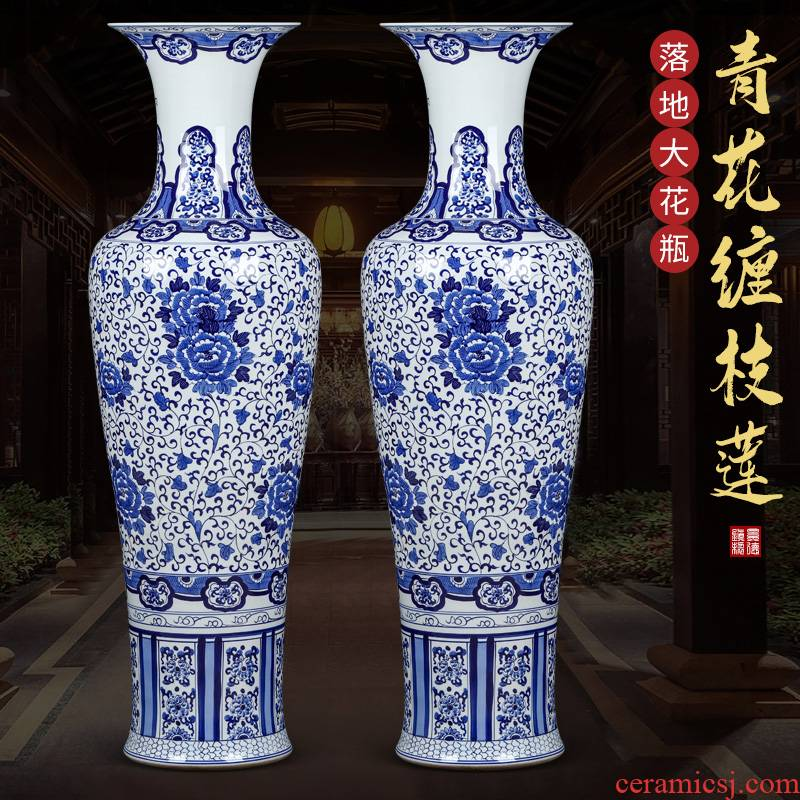 Jingdezhen ceramics hand - made archaize of large blue and white porcelain vase new Chinese TV ark to heavy large living room