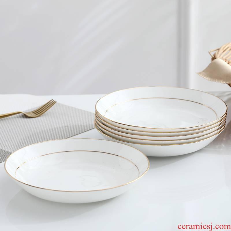 Creative household deep dish dish dish dish FanPan up phnom penh ipads porcelain dish soup dish dish of jingdezhen ceramic plates