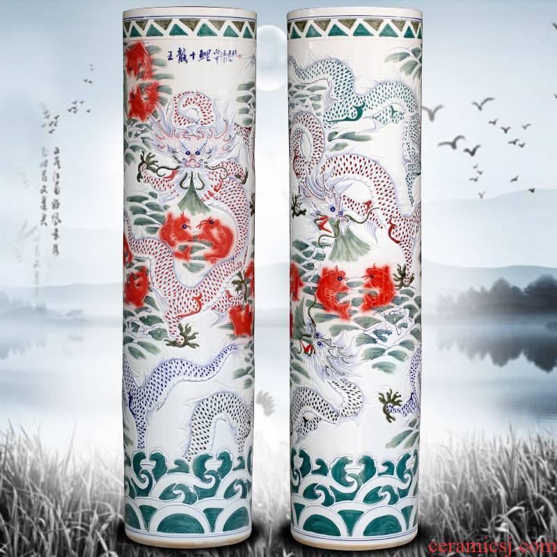 Jingdezhen ceramic floor big vases carved dragon quiver opening gifts decorations yards porcelain sword barrel furnishing articles