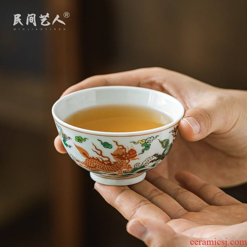 The Bucket color kirin water lines hand - made master cup of jingdezhen ceramics glaze color sample tea cup under a single cups