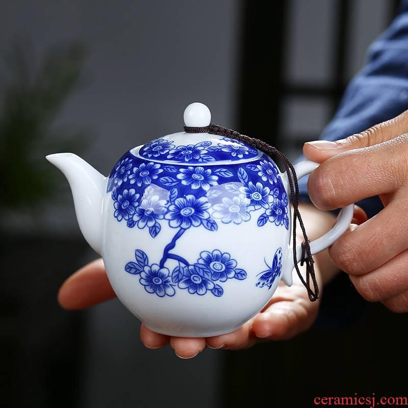 Ceramic teapot single pot of kung fu tea set of blue and white porcelain white porcelain teapot household small tea kettle with filtering
