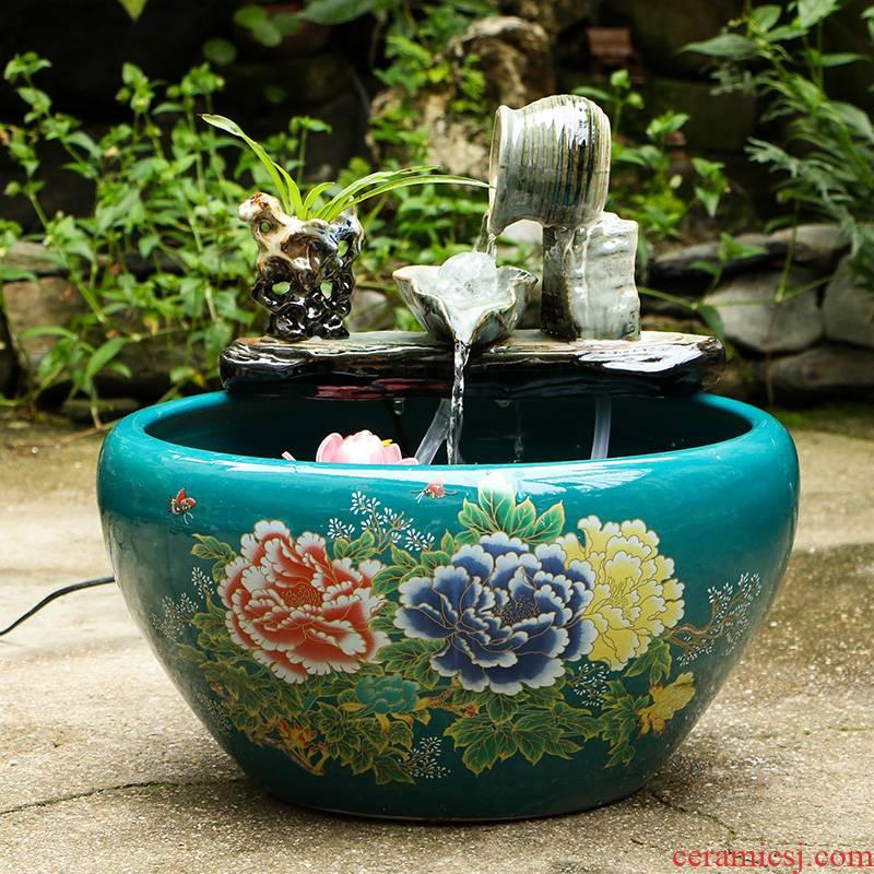 Jingdezhen ceramic goldfish bowl sitting room home feng shui plutus aquarium fountain water furnishing articles, small courtyard cycle