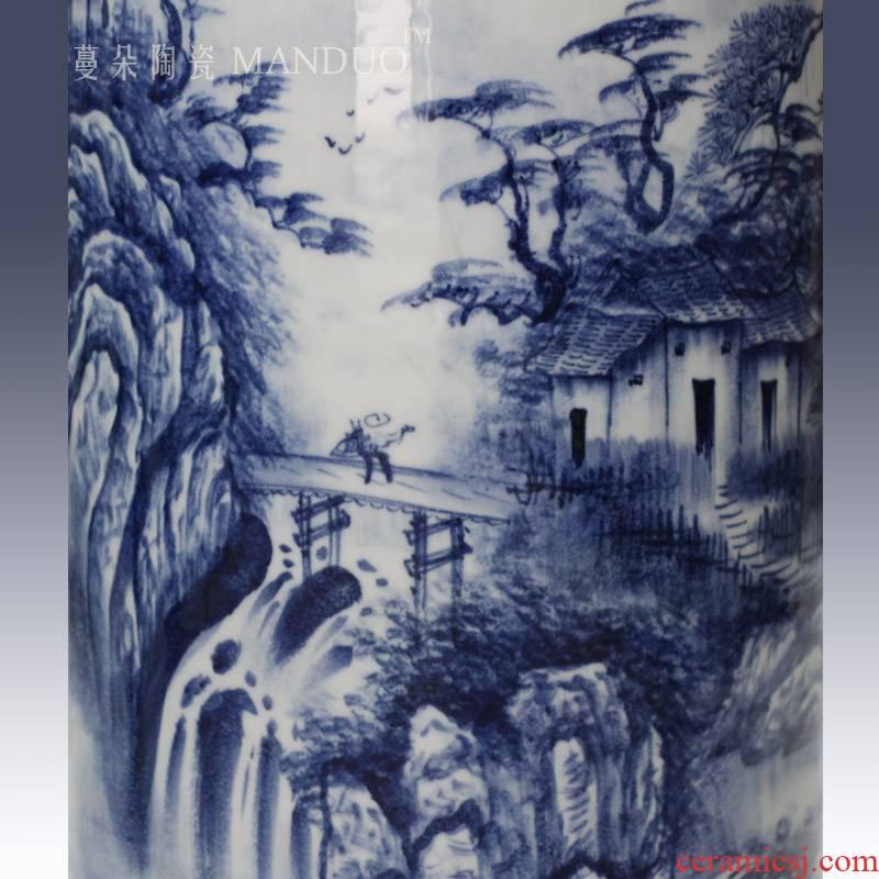 Jingdezhen hand - made jiangnan landscape artistic conception quiver straight big vase vase elegant living room furnishings collection