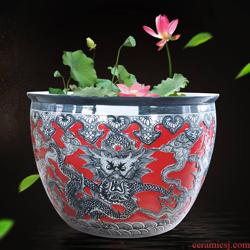 Dragon big flowerpot extra - large ceramic aquarium large water lily lotus cylinder large is suing its garden big bucket