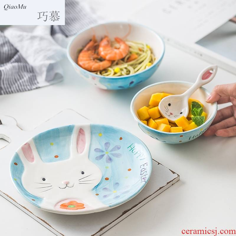 Qiam qiao mu Japanese lovely ceramic tableware suit job baby cartoon breakfast plate of household creative cuisine