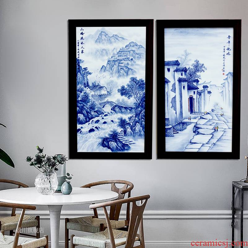 Jingdezhen blue and white porcelain plate painter hand - made landscapes hang in the living room sofa setting wall decoration ceramics paintings